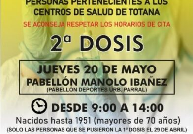 Totana: Este jueves 20 de mayo tendrá lugar otra jornada de vacunación masiva para mayores de 70 años y la franja de edad comprendida entre los 50 a 59 años