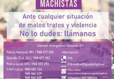 El Ayuntamiento de Lorca se suma a la campaña 'Verano libre de violencia machista' de la Delegación del Gobierno contra la Violencia de Género y la Federación Española de Municipios y Provincias